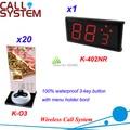 Pager para restaurante com menu do botão de chamada e receptor de 433 mhz