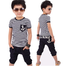Baby Boy Clothes Sets 2019 Spring Summer Kids Pants + Top Boys Navy Stripe Clothes Children Tracksuit For 2-8Y