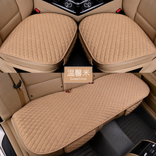 Linen Fabric Car Seat Cover Four Seasons Front And Rear Flax Cushion Breathable Protector Mat Pad