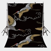 150x220cm Traditional Chinese Style Backdrop Flying White Crane with Black Minimalist Background for Personal Party