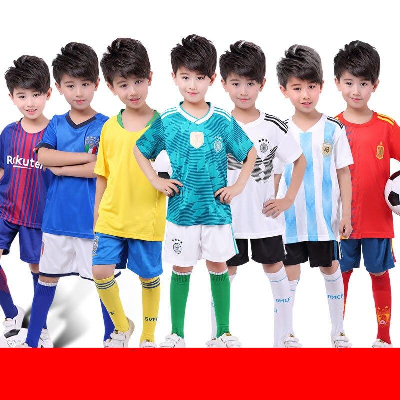 2018 Children Football Suit Set Boys Girls Short Sleeve T-shirt+pant 2pcs Football jerseys National jerseys Kids soccer wear