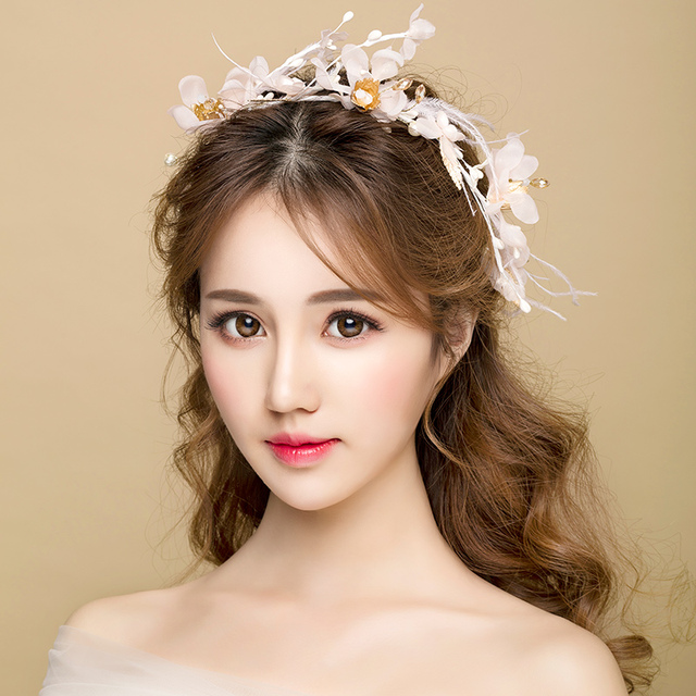 Modest Flower Hairbands Bridal Wedding Headbands Hair Accessories S Party Headpieces Headdress Engagement Jewelry Gifts