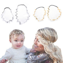 Korean Summer Hair Accessories Gold Silver Leaves Hairbands Bridal Trendy Jewelry For Mother Gifts 2Pcs(China)