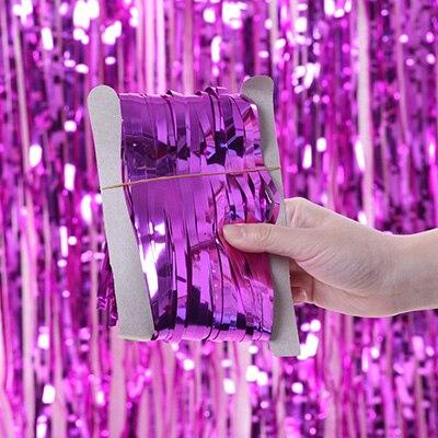 2 м 3 м 4 М Металлическая бахрома из фольги мерцающий фон свадебная вечеринка украшение стены фото стенд фон мишура блестящие занавески золото - Цвет: mirror rose