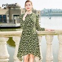 POKWAI 2019 Новое Женское платье рукав нерегулярная мозаика Цвет печати Тонкий Шелковый летнее