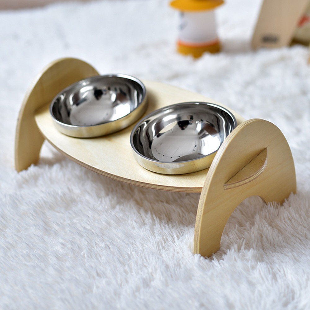 De Acero inoxidable antideslizante De Madera Para Mascotas Cat Dog Food Bowl Agu
