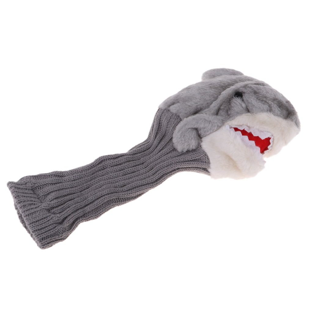 MagiDeal Knit Funny Shark Golf Driver Wood Head Cover Protector Headcover Replacement