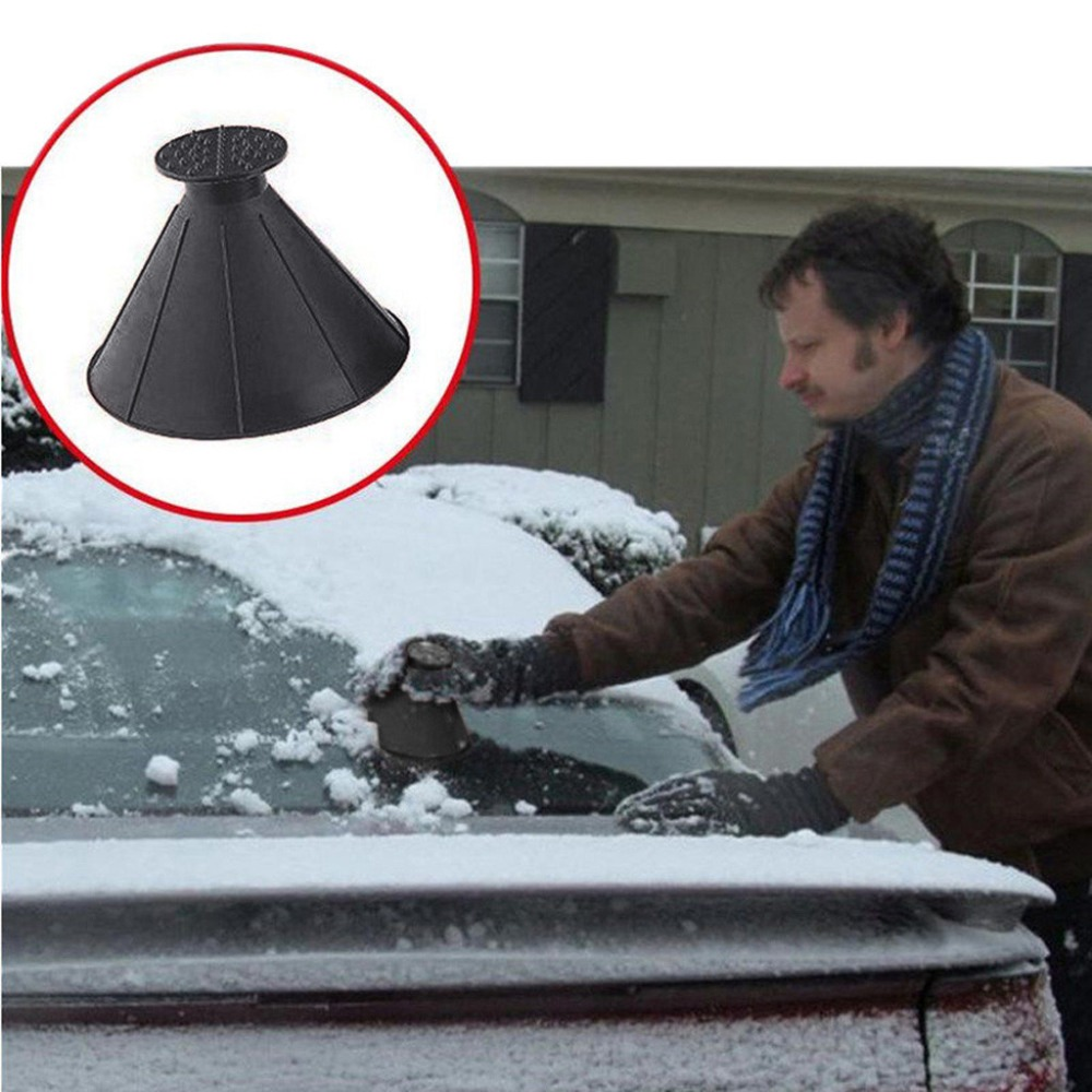 Car Rearview Mirror Ice Scraper Black Car Windshield Magic Funnel Ice Scraper Upgrade 3-in-1 Refueling and Snow Removal Tool for Cars Car deicing tool