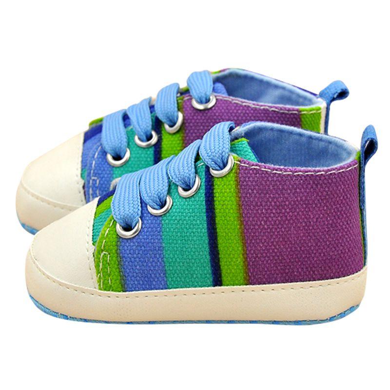 Kids Shoes Baby Boy Girl Soft Sole Shoes Cotton Carvan Sneakers Laces Crib Shoes 0-18M