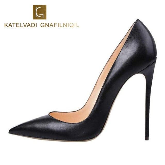Брендовая обувь женщина Высокие каблуки женские туфли-лодочки Туфли на острой шпильке для женский, черный Высокие каблуки 12 см из искусственной кожи свадебные туфли b-0051