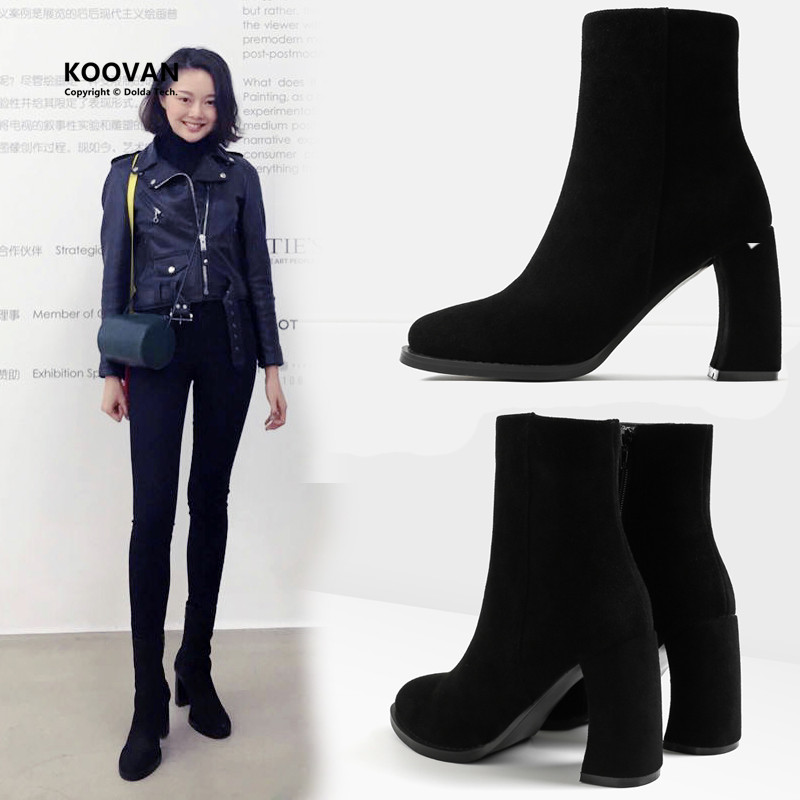 ФОТО Koovan Women Boots 2017 Spring Winter Cashmere Single Boots British Martin Shoes Thick With Velvet High-heeled Boot For Woman