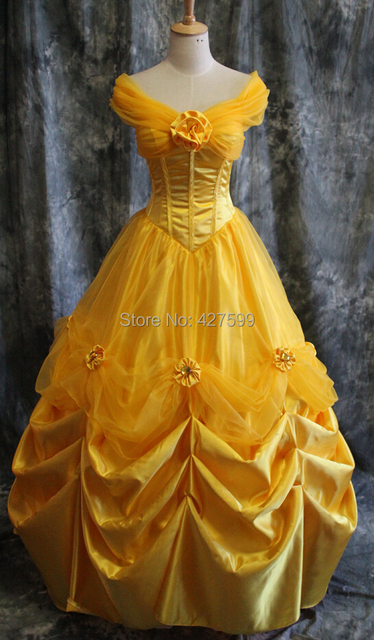 Hot moive Schöne und das Biest belle cosplay kostüm party kleid gelb ...