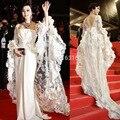 2016 Moda Branca Sereia Até O Chão de Luxo Lace Mangas Custom Made Vestidos de Celebridades Vestidos De Festa vestido de Baile DressZB725