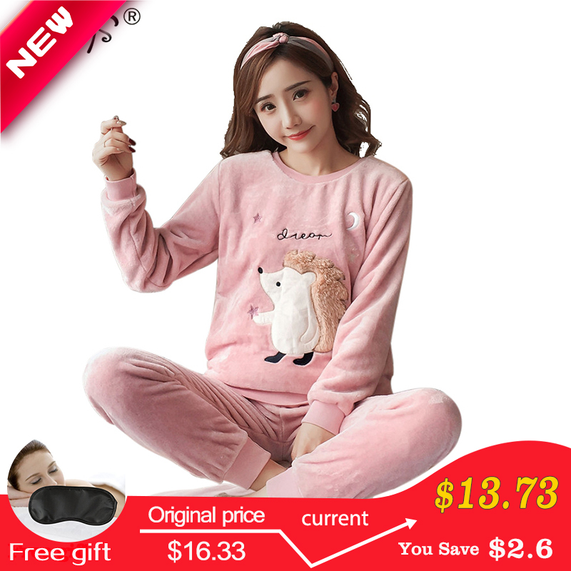 Women's   Pajamas   Autumn and Winter   Pajamas     set   Women Long Sleeve Sleepwear Flannel Warm Lovely Top + Pants   Pajamas   Female Pyjama