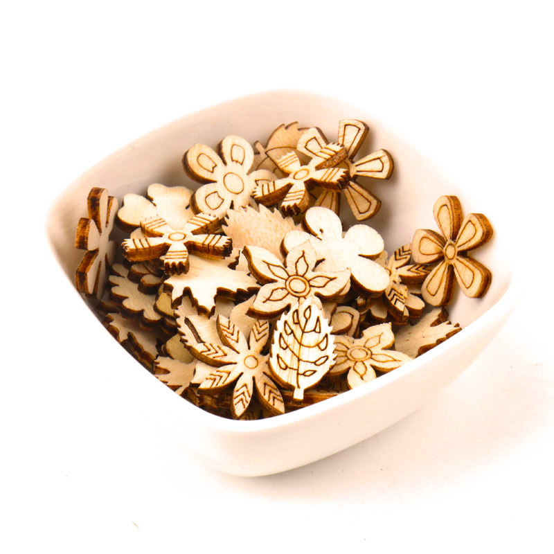 Home Decoration Handmade Accessory Scrapbooking Sewing Craft  DIY Natural Flower Leaves Pattern Wooden Embellishment 20mm 50pcsHome Decoration Handmade Accessory Scrapbooking Sewing Craft  DIY Natural Flower Leaves Pattern Wooden Embellishment 20mm 50pcs