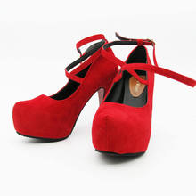 2017 New High-heeled Shoes Woman Pumps Wedding Shoes Platform Fashion Women Shoes Red High Heels 11cm Suede Free Shipping 186