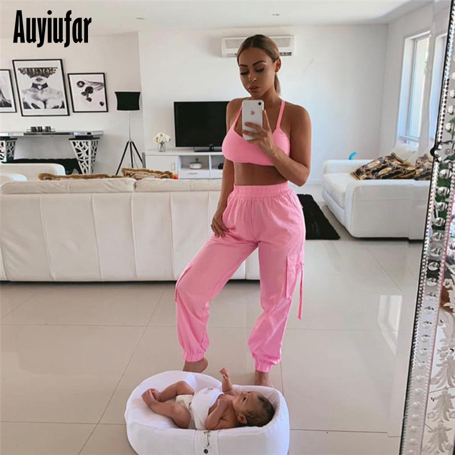 Auyiufar Pink Streetwear Women's Cargo Pants High Waist Loose Wide Leg Pants 2019 Casual Solid Plus Size Female Jogger Pants