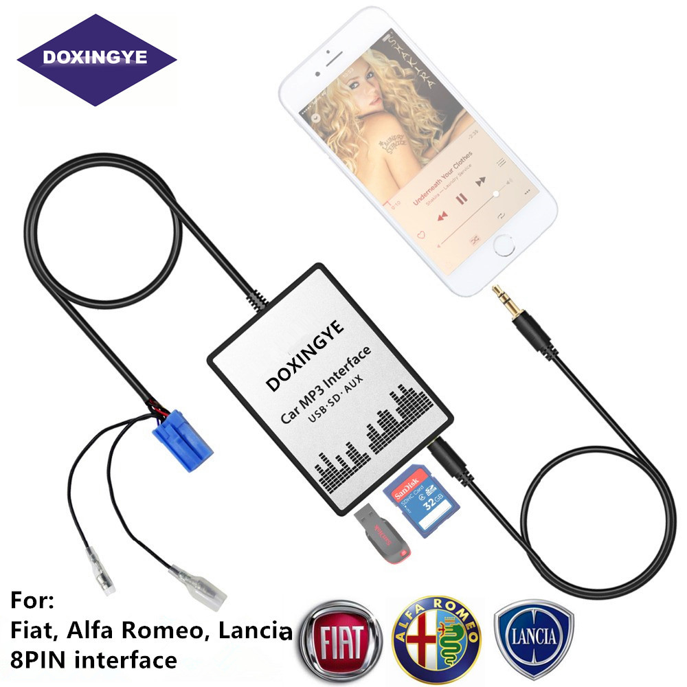 Doxingye usb sd aux carro mp3 música rádio digital cd changer adapte para 8pin interface fiat alfa romeo lancia croma doblo
