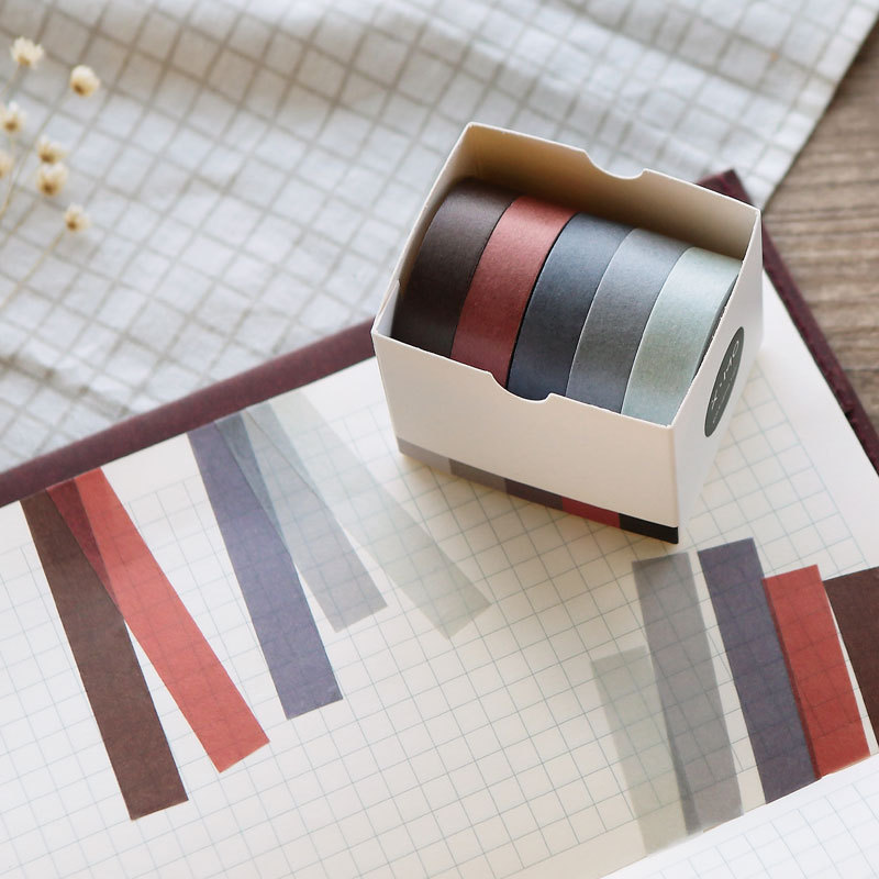 5pcs/lot Creative Basic Solid Color Bullet Journal Washi Tape Adhesive Tape DIY Scrapbooking Sticker Label Japanese Stationery