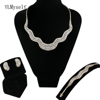 limited edition sale very large 4pcs jewelry sets Necklace/Bracelet/earrings/free size ring big party jewellery set for women