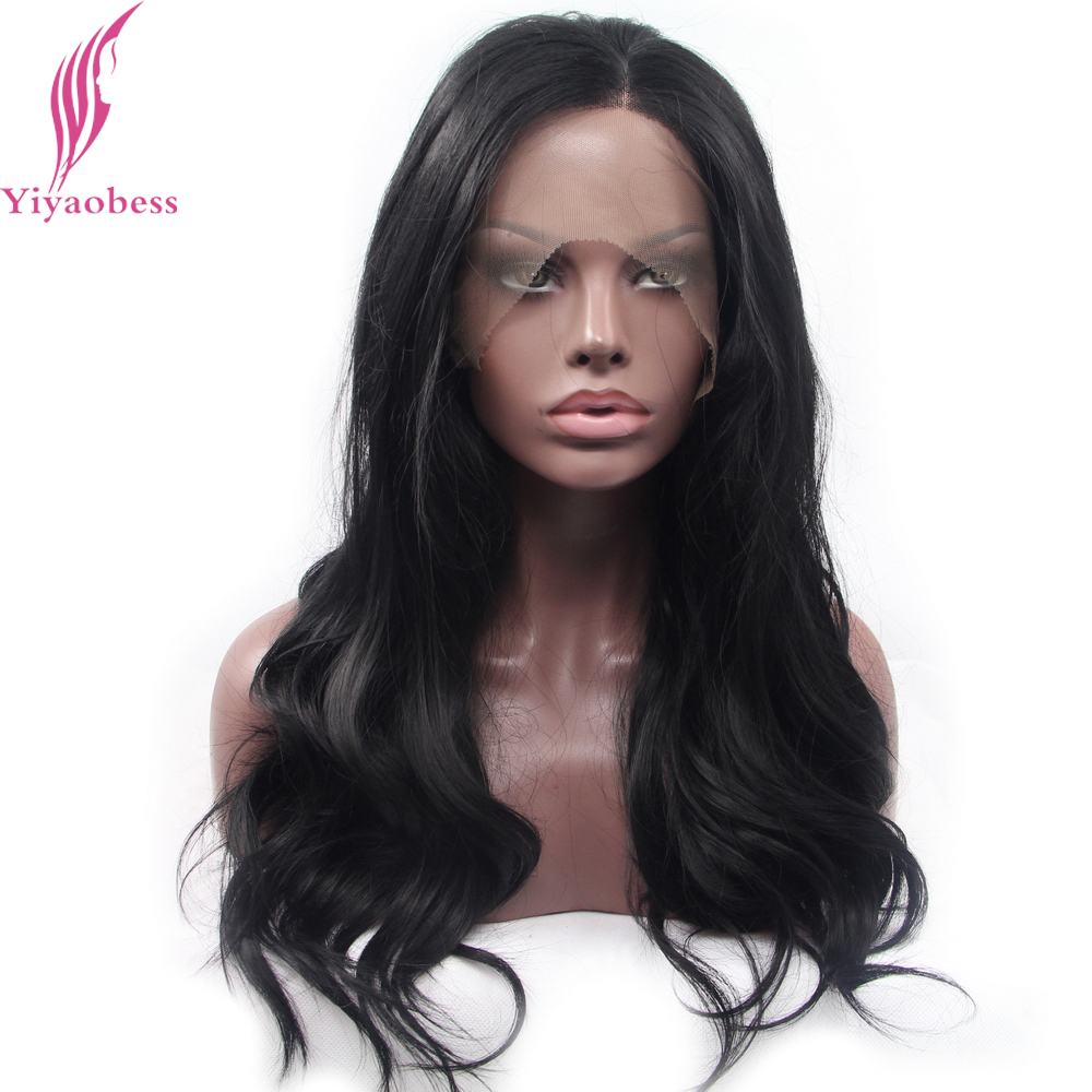 Yiyaobess 1# Glueless Synthetic Lace Front Wig Black Long Wavy Wigs For African American Women Natural Hairstyles