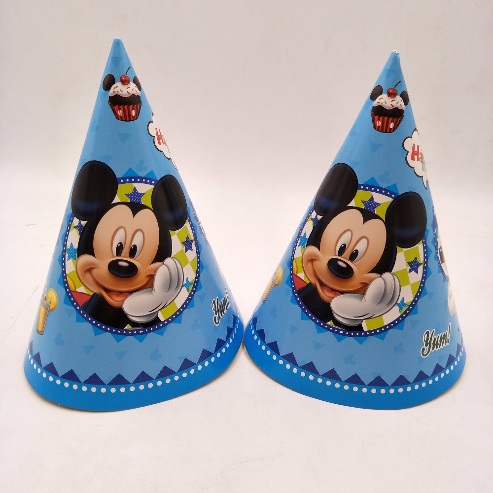6pcs Mickey Paper Caps Party Supplies Happy Birthday Hat Party