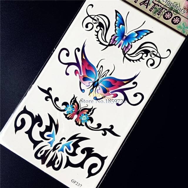 Waterproof Blue Purple Butterfly Tattoo Sticker For Women Body Art