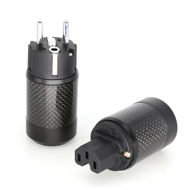 New Hifi Carbon Fiber pure copper Rhodium Plated IEC Female connector Brass Schuk EU male Power Plug for Diy audio power cable hifi audio diy power cable alpha series fp 3ts20 alpha occ and eu rhodium pure cupper schuko plug iec electrical