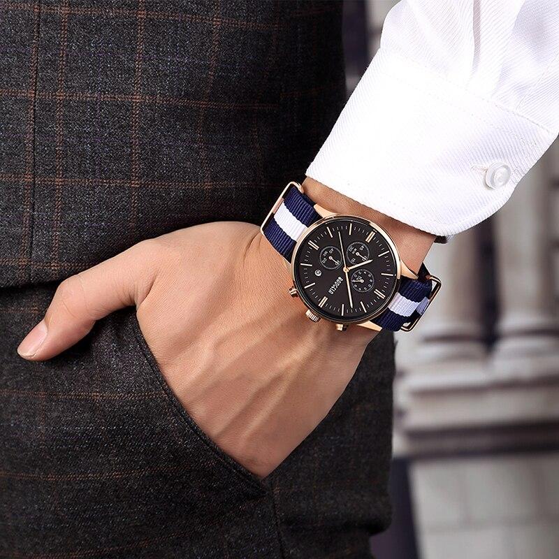 BAOGELA Chronograph Men Watches Sport Quartz Watches Canvas Military Watch For Men Male Wristwatches Relogio