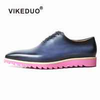 VIKEDUO Leather Sneakers For Men Handmade Blue Patina Dress Shoes Mans Square Toe Oxford Shoes Wedding Office Driving Footwear