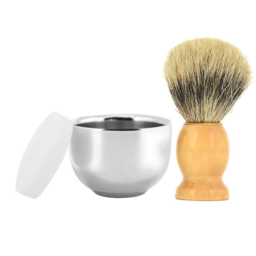 ZY Men Double Layer Shaving Razor Bowl Stainless Steel Cup Mug + Badger Shaving Brush Wood Handle+ Barber Shaving Soap 3pcs/set 3pcs mini stainless steel garden tool set with soild wood handle