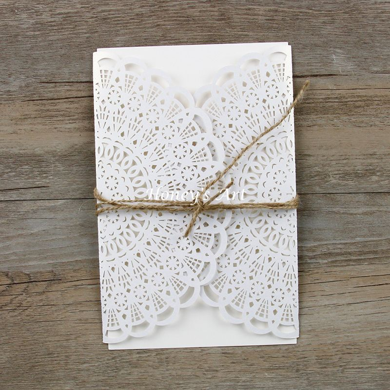 50pcs/lot Laser Flower Cut Wedding Invitations With Envelope Elegant ...