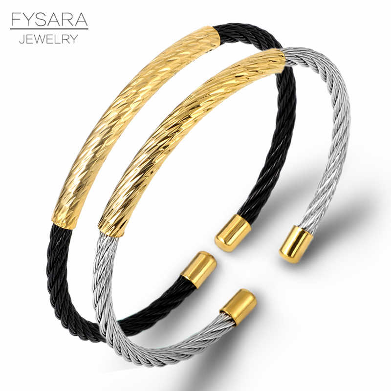 FYSARA Famous Brand Punk Black Silver Cable Wire Designers Bangles Thin Cuff Bracelet For Women Stainless Steel Jewelry Gifts