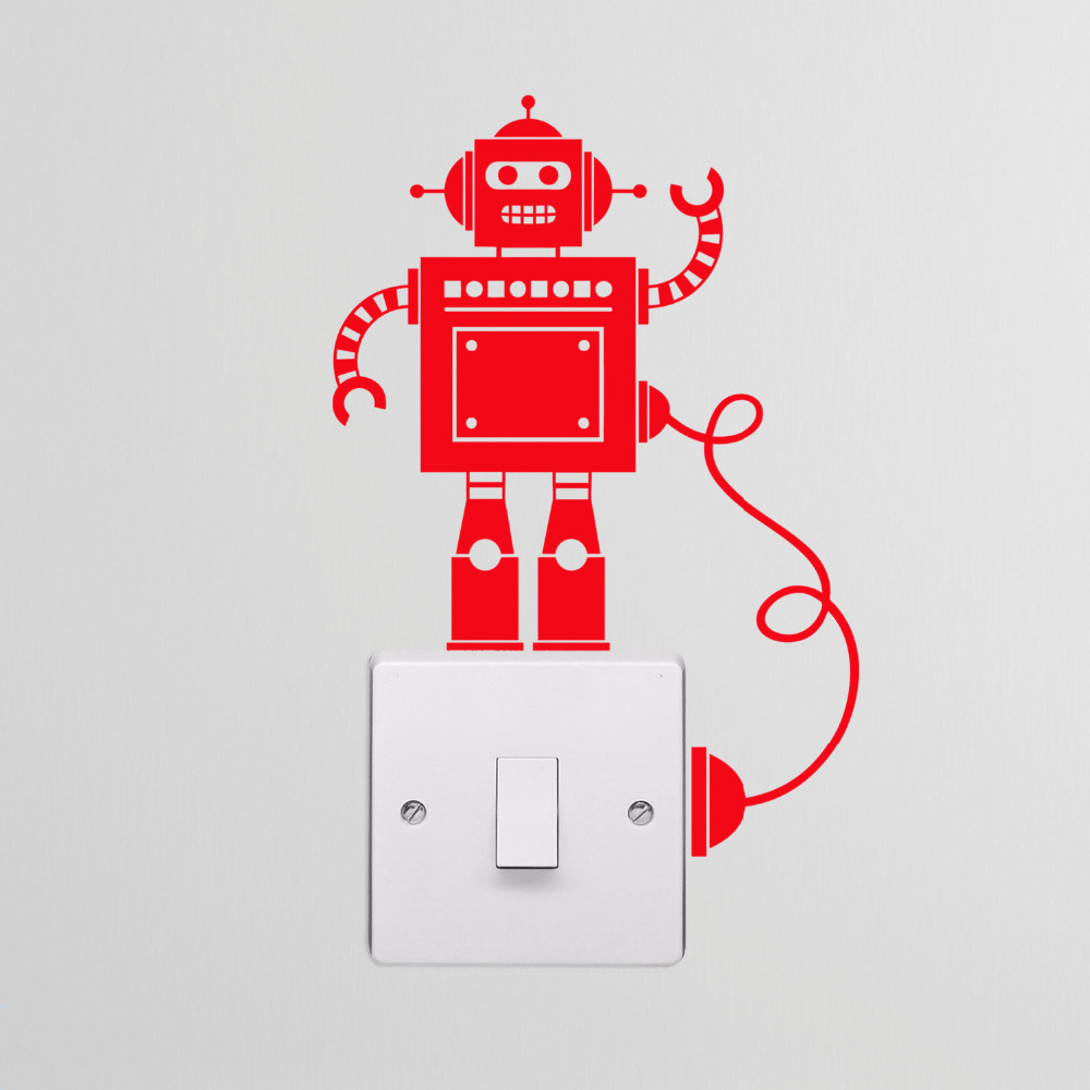 Tiny Robot Light Switch with Wire Decal Vinyl Switch Stickers Decor ...