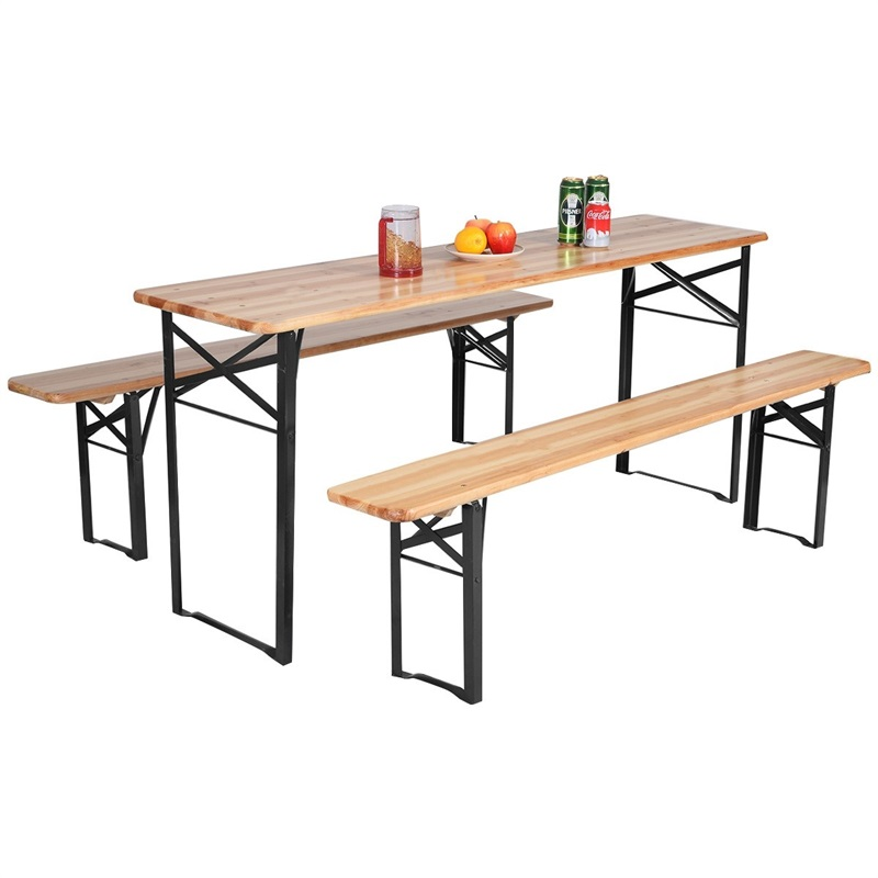3 pcs/set Folding Wooden Picnic Table Bench Set Iron and Chinese Fir Wood Outdoor Table and Bench Set