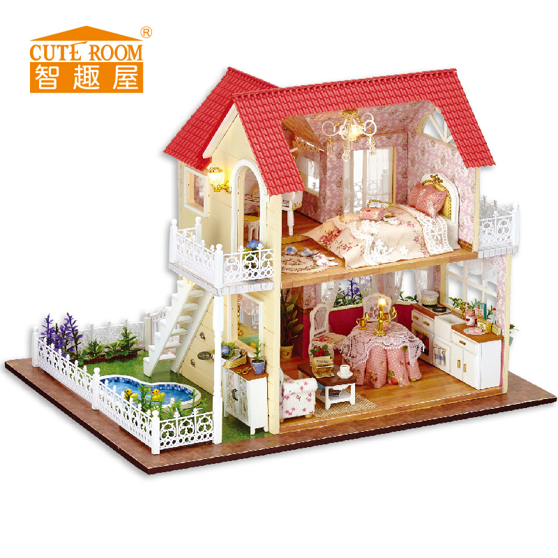 DIY Wooden House Miniaturas with Furniture DIY Miniature House Dollhouse Toys for Children Birthday and Christmas Gift A33 diy wooden house miniaturas with furniture diy miniature house dollhouse toys for children christmas and birthday gift a28