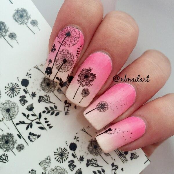 1 Pc Nascido Bonita Voador Dandelion Flor Bonita Etiqueta Nail Art