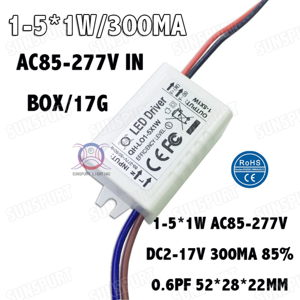 10 Pieces Isolation 5w Ac85 277v Led Driver 1 5x1w 300ma Dc2 17v 1w Circuit Power Supply Constant Current Ceiling Lamp Free Shipping