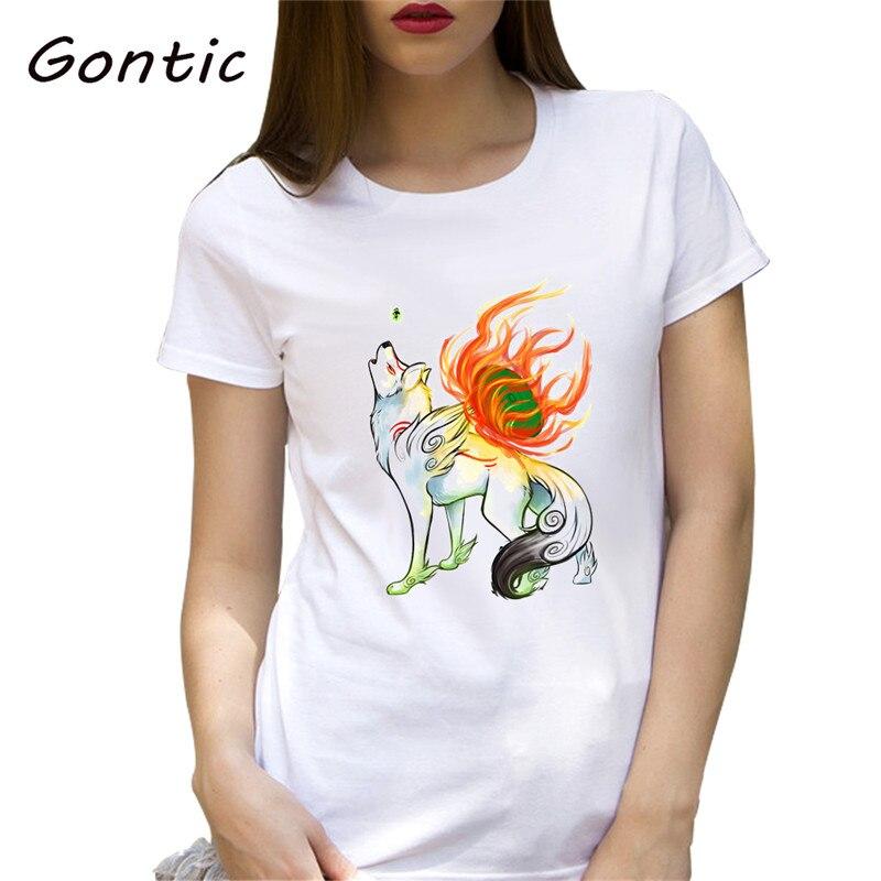01faf9e47ed2 Okami, футболка в японском стиле, Женская крутая футболка ...