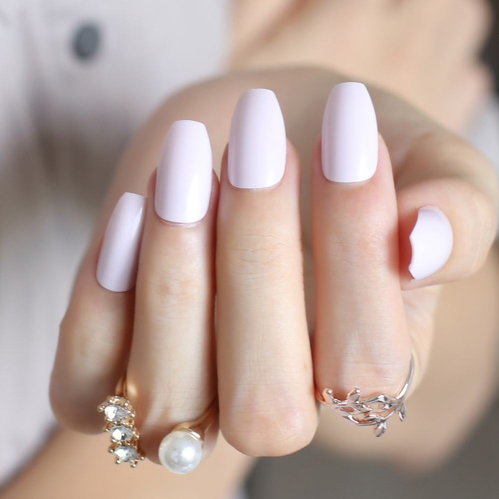 Light pink Full Nail Simple Artificial elegant Ballerina Fake nail ...