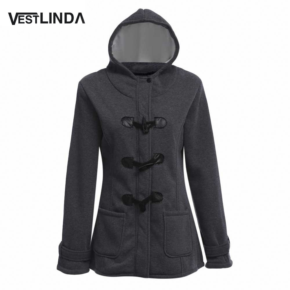 VESTLINDA Women Padded Winter Coat Outerwear Hooded Single Breast Padded Coat Feminino Long Sleeve Thick Cotton Wool Coats
