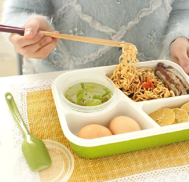 4 клетки здоровой Пластик Коробки для обедов Еда контейнер 1000 мл Многофункциональный взрослых леди малыш Ланчбокс микроволновые Bento box