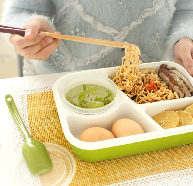 4 Cells Healthy Plastic Lunch Box Food Container 1000ml Multifunction Adults Lady Kid Lunchbox Microwaveable Bento Box