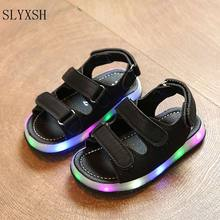 SLYXSH 2018 New Cartoon LED cute girls shoes Pu lighted flash children sandals glowing girls sandals(China)