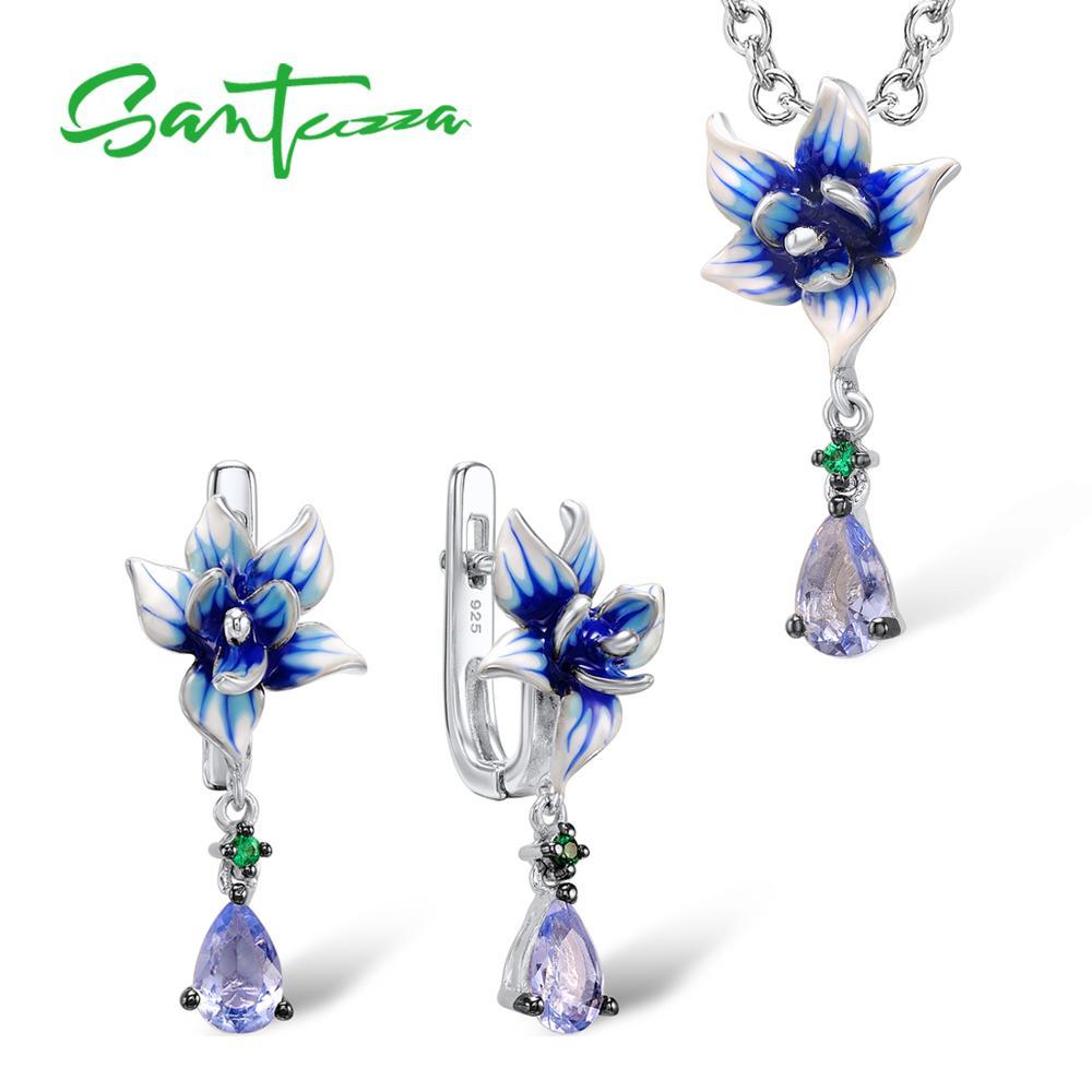 Santuzza Silver Jewelry Set Colorful Enamel Earrings Pendent Necklace 925 Sterling Silver Women Fashion Jewelry Set