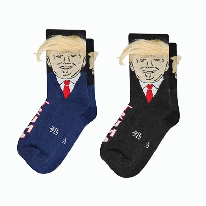 Men Women <font><b>Unisex</b></font> Novelty American President Long Crew <font><b>Socks</b></font> With 3D Fake Hair Funny Print <font><b>Crazy</b></font> Gift Casual Cotton Hosiery image