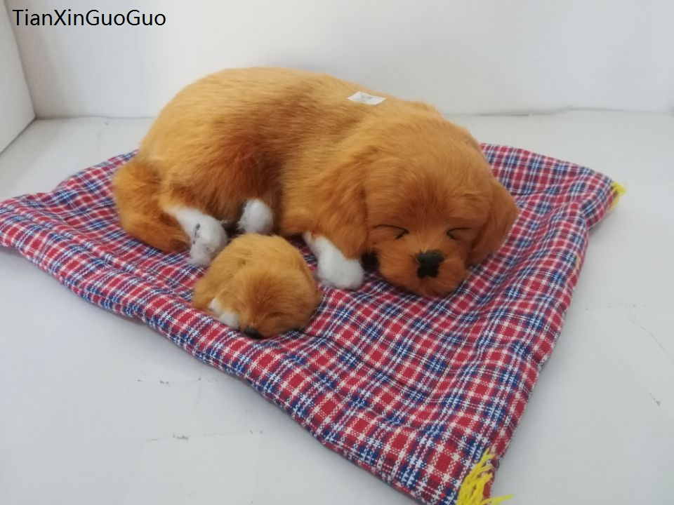 large 25x22cm simulation dog Golden Retriever sounds bark hard model polyethylene&furs handicraft home decoration gift s2101
