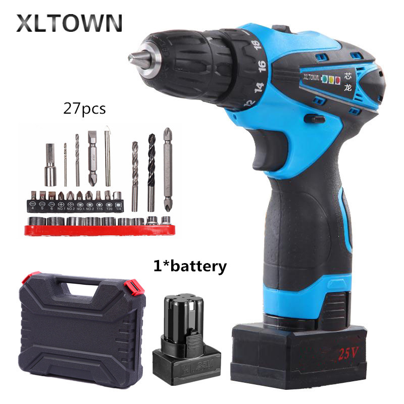 Xltown25v rechargeable lithium battery electric screwdriver with a Plastic box  two-speed switch electric drillpower tools replacement rechargeable 3 7v 2000mah lithium battery pack with screwdriver for nintendo 3ds
