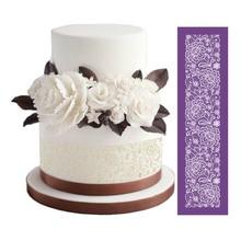 Ziedu auduma tortes acu trafareti kāzu kūka veidošanai Mīklas cepšanas rīki Fondantus mežģīņu paklāju veidnes Bakeware kūku rīki