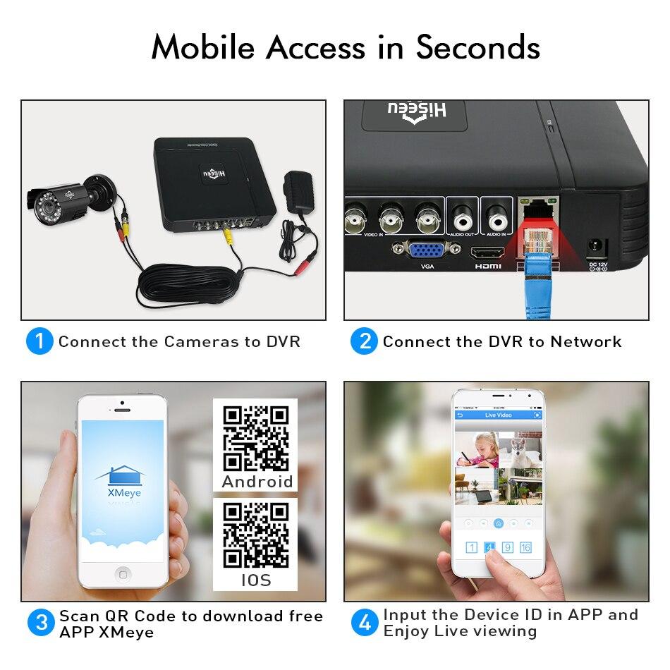 Sistema de cámara CCTV Hiseeu 4CH 720P / 1080P AHD Cámara de - Seguridad y protección - foto 6
